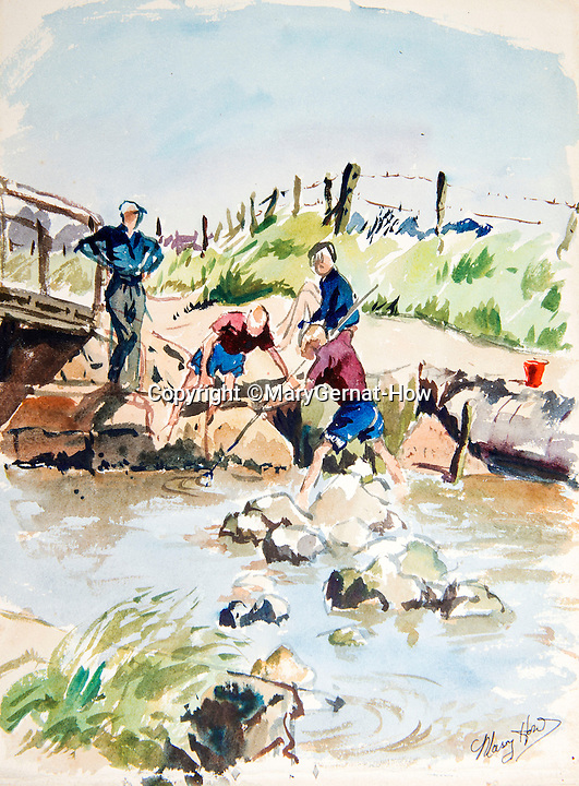 BNPS.co.uk (01202 558833)<br /> Pic: MaryGernat-How/BNPS<br /> <br /> ***Single Use - Not For Archive***<br /> <br /> Mary's sketch of husband Michael fishing with three of her boys.<br /> <br /> The real family behind Enid Blyton's iconic book covers has been revealed for the first time thanks to a hidden archive of sketches and family photos.<br /> <br /> Mary Gernat, who created the paperback covers for about 100 children's books in the 1960s, would get her young sons to stop mid-play and pose for her while she quickly sketched ideas for books like The Famous Five, the Secret Series, St Clare's and Malory Towers.<br /> <br /> Her son Roger How, 58, has now unveiled some of his mother's never-seen-before original sketches and finished book drafts which capture the classic images of childhood adventure he and his brothers helped create.