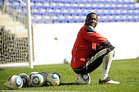 Goalkeeper Bouna Coundoul (18) of the New York Red Bulls during a practice at Red Bull Arena in Harrison, NJ, on March 16, 2010.