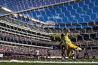 F.C. Internazionale Milano goalkeeper Samir Handanovic (1) fails to stop a scoring attempt. Valencia C. F. defeated F.C. Internazionale Milano 4-0 during round two of the 2013 Guinness International Champions Cup at MetLife Stadium in East Rutherford, NJ, on August 04, 2013.