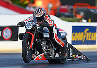 May 17, 2014; Commerce, GA, USA; NHRA pro stock motorcycle rider Eddie Krawiec during qualifying for the Southern Nationals at Atlanta Dragway. Mandatory Credit: Mark J. Rebilas-USA TODAY Sports
