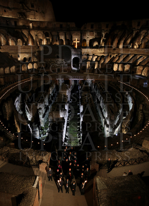 Una veduta interna del Colosseo, in occasione della Via Crucis celebrata dal Papa, a Roma, 18 aprile 2014.<br /> An interior view of the ancient Colosseum, on the occasion of the Via Crucis (Way of the Cross) torchlight procession attended by the Pope, in Rome, 18 April 2014.<br /> UPDATE IMAGES PRESS/Isabella Bonotto<br /> <br /> STRICTLY ONLY FOR EDITORIAL USE