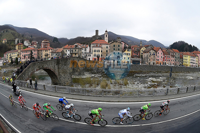 The breakaway group in action during the 108th edition of Milan-San Remo 2017 by NamedSport the first Classic Monument of the season running 291km from Milan to San Remo, Italy. 18th March 2017.<br /> Picture: La Presse/Fabio Ferrari | Cyclefile<br /> <br /> <br /> All photos usage must carry mandatory copyright credit (&copy; Cyclefile | La Presse)