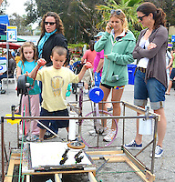 Everett Brown, 5, draws a picture on Steves Abstract Drawing Machine at the Santa Monica Farmers Market on Sunday, May 13, 2012.