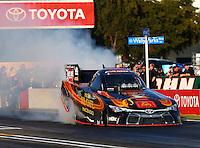 Feb 6, 2015; Pomona, CA, USA; NHRA funny car driver Alexis DeJoria during qualifying for the Winternationals at Auto Club Raceway at Pomona. Mandatory Credit: Mark J. Rebilas-