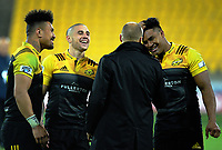 Ardie Savea, TJ Perenara and Julian Savea chat with Jeff Wilson after the Super Rugby match between the Hurricanes and Stormers at Westpac Stadium in Wellington, New Zealand on Friday, 5 May 2017. Photo: Dave Lintott / lintottphoto.co.nz