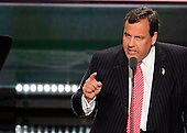 Governor Chris Christie (Republican of New Jersey) makes remarks at the 2016 Republican National Convention held at the Quicken Loans Arena in Cleveland, Ohio on Tuesday, July 19, 2016.<br /> Credit: Ron Sachs / CNP<br /> (RESTRICTION: NO New York or New Jersey Newspapers or newspapers within a 75 mile radius of New York City)