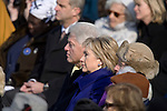 Former U.S. President Bill Clinton, and his wife, Senator Hillary Clinton (D-NY), listen as President Barack Obama delivers his inaugural speech at The Capitol Building. Washington, DC, January 20, 2009.