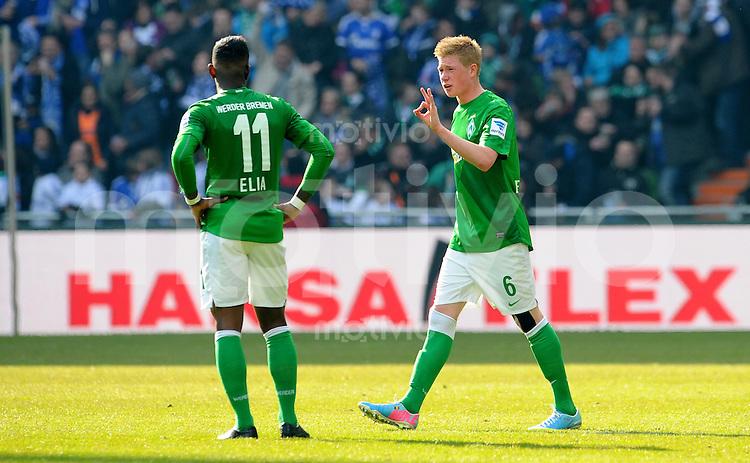 FUSSBALL   1. BUNDESLIGA   SAISON 2012/2013    28. SPIELTAG SV Werder Bremen - FC Schalke 04                          06.04.2013 Kevin De Bruyne (li) weist Eljero Elia (re, beide SV Werder Bremen) zurecht