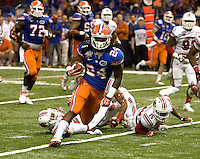 Florida running back Matt Jones runs the ball during 79th Sugar Bowl game against Louisville at Mercedes-Benz Superdome in New Orleans, Louisiana on January 2nd, 2013.   Louisville Cardinals defeated Florida Gators, 33-23.