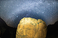 Milky Way above the Birthing Panel, near Moab, Utah Ancient Native American rock art depicting a birth