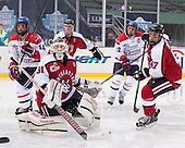 Joseph Pendenza (UML - 14), Clay Witt (NU - 31), Colton Saucerman (NU - 23), Josh Holmstrom (UML - 12), Dustin Darou (NU - 47) - The Northeastern University Huskies defeated the University of Massachusetts Lowell River Hawks 4-1 (EN) on Saturday, January 11, 2014, at Fenway Park in Boston, Massachusetts.