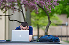 May 9, 2013; Finance and economics student, Jamie O'Donohue, studies for a final in the Library Quad. Photo by Barbara Johnston/University of Notre Dame