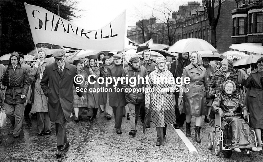 Peace People parade along the Falls Road, Belfast, N Ireland, UK, 23rd October 1976 - Contingent of peace marchers from the Loyalist Shankill Road, Belfast, took part in the event. 197610230506f<br />