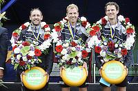 KAATSEN: PINGJUM: 04-09-2016, Hoofdklasse Kaatsen, Daniël Isege, Gert-Anne van der Bos (koning) en Taeke Triemstra, ©foto Martin de Jong