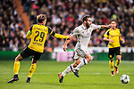 Daniel Carvajal Ramos (r) of Real Madrid competes for the ball with Marcel Schmelzer of Borussia Dortmund during the 2016-17 UEFA Champions League match between Real Madrid and Borussia Dortmund at the Santiago Bernabeu Stadium on 07 December 2016 in Madrid, Spain. Photo by Diego Gonzalez Souto / Power Sport Images