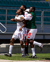 Alfredo Stephens (19) of Panama celebrates his goal with teammates during the quarterfinals of the CONCACAF Men's Under 17 Championship at Catherine Hall Stadium in Montego Bay, Jamaica. Panama defeated Costa Rica, 1-0.