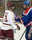 Johnny Gaudreau (BC - 13), Joe Houk (UML - 4) - The Boston College Eagles defeated the visiting University of Massachusetts Lowell River Hawks 6-3 on Sunday, October 28, 2012, at Kelley Rink in Conte Forum in Chestnut Hill, Massachusetts.