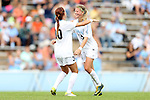 30 September 2012: UNC's Katie Bowen (NZL) (15) celebrates her goal with Alyssa Rich (00). The University of North Carolina Tar Heels defeated the University of Miami Hurricanes 6-1 at Fetzer Field in Chapel Hill, North Carolina in a 2012 NCAA Division I Women's Soccer game.