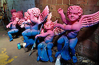 Unfinished angel statues seen during the design process in the Carnival workshop in Rio de Janeiro, Brazil, 23 February 2004.