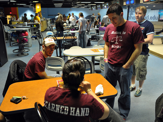 Law School bowling league..For Law School Admissions..Photo by Matt Cashore/University of Notre Dame