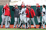 21 February 2015: Hartford's Chris DelDebbio (10) celebrates his run with teammates. The Iona College Gaels played the University of Hartford Hawks in an NCAA Division I Men's baseball game at Jack Coombs Field in Durham, North Carolina as part of the Duke Baseball Classic. Hartford won the game 12-1.
