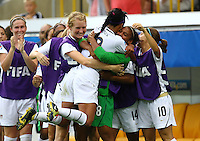 USA's Sydney Leroux (C) celebrates after scoring 4:0 with teammates during the FIFA U20 Women's World Cup at the Rudolf Harbig Stadium in Dresden, Germany on July 17th, 2010.