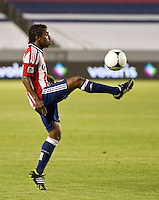 CARSON, CA - April 21, 2012: Chivas USA midfielder Miller Bolanos (17) during the Chivas USA vs Philadelphia Union match at the Home Depot Center in Carson, California. Final score Philadelphia Union 1, Chivas USA 0.