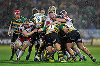 Northampton Saints and Gloucester Rugby forwards compete at a maul. Aviva Premiership match, between Northampton Saints and Gloucester Rugby on November 27, 2015 at Franklin's Gardens in Northampton, England. Photo by: Patrick Khachfe / JMP
