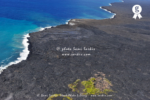 Lava Fields And Pacific Ocean Aerial View Kilauea