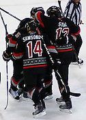 The Hurricanes celebrate Eric Staal's fifth goal of the year.