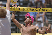 Huntington Beach, CA - 5/5/07:   Karch Kiraly gets the ball over the net during Kiraly / K. Wong's  21-17, 21-19 loss to Hyden / Keenan Saturday during the 2007 AVP CROCS Tour in Huntington Beach..