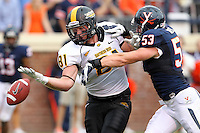 Virginia Cavaliers linebacker Steve Greer (53) defends Southern Miss Golden Eagles tight end Ryan Hanks (81) during the game at Scott Stadium. Virginia lost to Southern Mississippi 30-24. (Photo/Andrew Shurtleff)