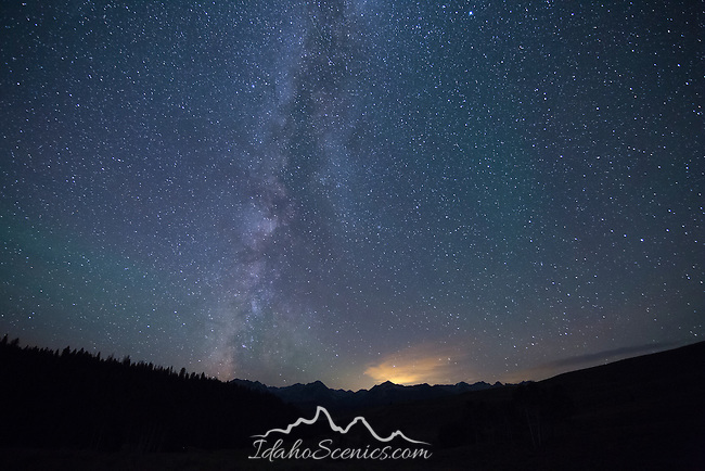 Idaho, South central, Stanley. The milky way over the Sawtooth range as viewed from the Boulder Mountains in summer.