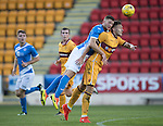 St Johnstone U20 v Motherwell U20&hellip;03.10.16.. McDiarmid Park   SPFL Development League<br />Liam Gordon clears from Jacob Blyth<br />Picture by Graeme Hart.<br />Copyright Perthshire Picture Agency<br />Tel: 01738 623350  Mobile: 07990 594431