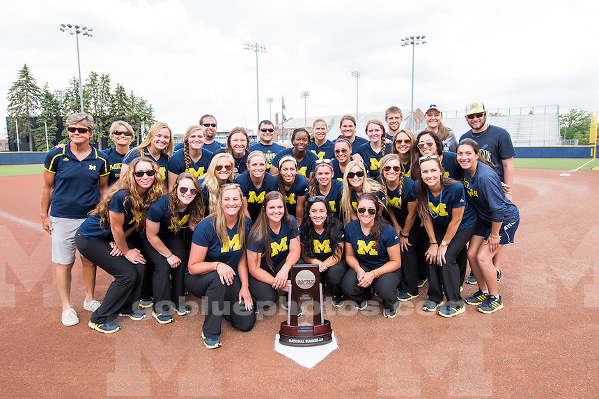 The University of Michigan softball team during the Welcome Back event at Alumni Field in Ann Arbor, Michigan in June 4, 2015.