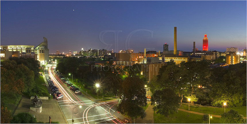 Taken from the San Jacinto parking garage, this image shows the UT Campus and UT Tower in Austin, Texas.