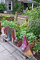 Variety of pretty and interesting birdhouses on bench, in lots of colors and shapes, with tall little water garden, picket fence, perennials and annual tropical looking garden bed, and stone patio, trees, house with beautiful round porch.