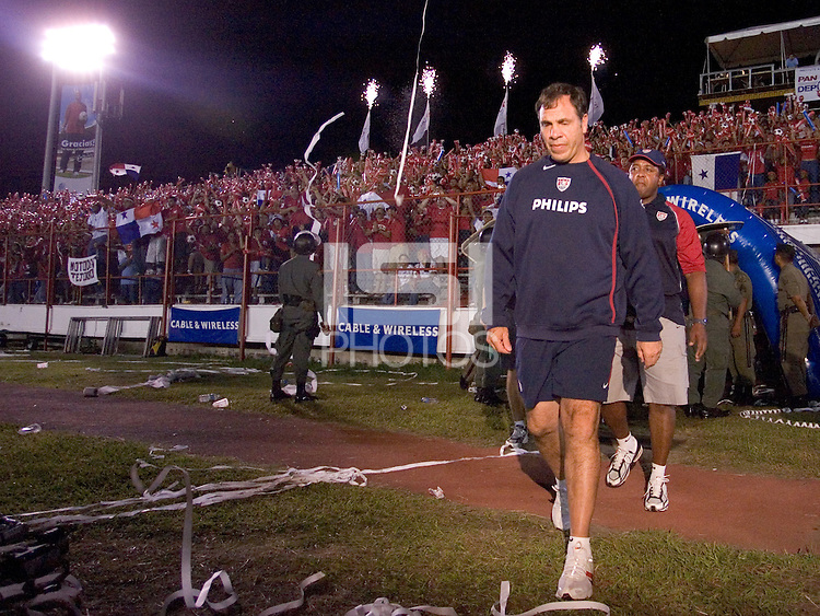 USA head coach Bruce Arena walks on to the field before the game against Panama Panama City, Panama, Wednesday, June 8, 2005. USA won 3-0.