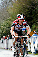 David Zabriskie, of Team CSC, climbs a 24-percent-grade section of Brasstown Bald during Stage 5 of the Ford Tour de Georgia. Tom Danielson, of the Discovery Channel Pro Cycling Team, won the 94.5-mile (152.1-km) stage from Blairsville to the top of Brasstown Bald, the highest point in the state. Zabriskie finished 13th.<br />