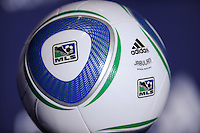 The new Adidas MLS soccer ball on display during the MLS SuperDraft at the Pennsylvania Convention Center in Philadelphia, PA, on January 14, 2010.