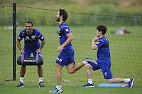 Anton Ferdinand , Ji-Sung Park and Esteban Granero of QPR in training