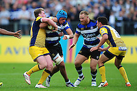Zach Mercer of Bath Rugby takes on the Worcester Warriors defence. Aviva Premiership match, between Bath Rugby and Worcester Warriors on September 17, 2016 at the Recreation Ground in Bath, England. Photo by: Patrick Khachfe / Onside Images
