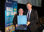 St Johnstone Hall of Fame Dinner, Perth Concert Hall...05.10.13<br /> Willie Coburn is presented his Hall of Fame Award by Ian MacDonald from sponors Brewin Dolphin<br /> Picture by Graeme Hart.<br /> Copyright Perthshire Picture Agency<br /> Tel: 01738 623350  Mobile: 07990 594431