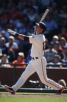 SAN FRANCISCO, CA - OCTOBER 2:  Joe Panik #12 of the San Francisco Giants bats against the Los Angeles Dodgers during the game at AT&T Park on Sunday, October 2, 2016 in San Francisco, California. Photo by Brad Mangin