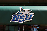31 May 2016: The NSU logo is printed on the dugout railing. The Nova Southeastern University Sharks played the Lander University Bearcats in Game 8 of the 2016 NCAA Division II College World Series  at Coleman Field at the USA Baseball National Training Complex in Cary, North Carolina. Nova Southeastern won the game 12-1.