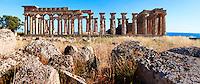 Fallen column drums of Greek Dorik Temple ruins  Selinunte, Sicily photography, pictures, photos, images & fotos. 63