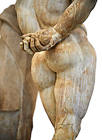 End of 2nd century beginning of 3rd century AD Roman marble sculpture of Hercules hand copied from the second half of the 4th century BC Hellanistic Greek original,  inv 6001, Farnese Collection, Museum of Archaeology, Italy