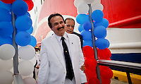 Jose Guillermo Rodriguez The mayaguez mayor attend a ceremony  during the opening of America Cruise Ferries operations, between Puerto Rico and Dominican Republic.The ferry-cruise ship can transport 1,100 passengers and a carries a combination of 150 containers and around 70 vehicles in every crossing. ViewPress/ ZZ