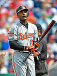 20 May 2012: Baltimore Orioles outfielder Adam Jones in action against the Washington Nationals at Nationals Park in Washington, DC. The Nationals defeated the Orioles 9-3 to salvage the third game of their 3-game series. Mandatory Credit: Ed Wolfstein Photo