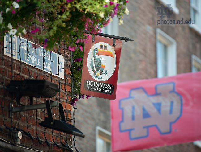 Aug. 30, 2012; Pub in the Temple Bar area with a banner advertising the pep rally to be held before the 2012 Emerald Isle Classic...Photo by Matt Cashore/University of Notre Dame